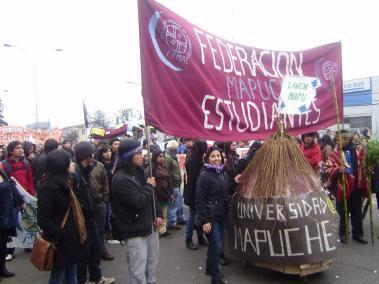 Demonstration der Femae am 25. August in Temuco / Femae