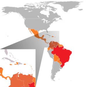 Länder in Südamerika mit Zika-Virus-Infektionen (Stand: Februar 2016). Grafik: Wikipedia