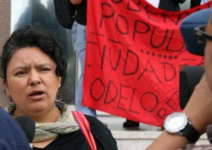 Berta Cáceres protestiert gegen Modellstädte. Foto: Erika Harzer (cc-by-nd-30)
