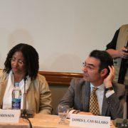 Das frühere CIDH-Mitglied Tracy Robinson und CIDH-Präsident Cavallo.