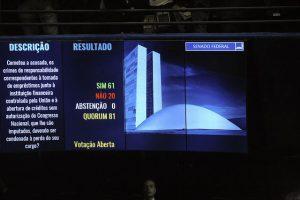 Die elektronische Anzeigetafel mit dem Abstimmungsergebnis vom 31. August 2016 / Foto: Senado Federal, CC BY 2.0