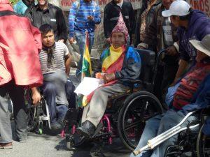 Proteste von Menschen mit Behinderung in La Paz. Fotos: Thomas Guthmann