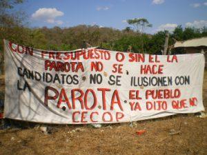 Transparent gegen das Staudammprojekt La Parota / Foto: Sipaz