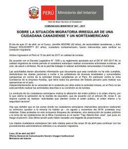 Erklärung des Ministeriums zur Verhaftung von Moore und Dougherty