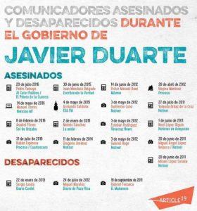 Ermordete und gewaltsam Verschwundene Medienschaffende während der Regierungszeit von Duarte / Plakat: article 19