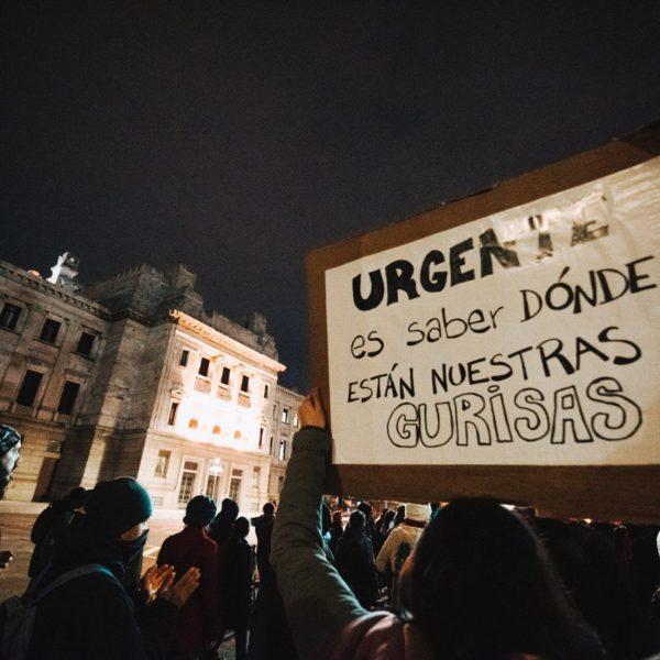 Parlamento Uruguay. Manifestacion encontra de la ley de urgente consideración. Pancarta feminista