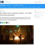 Captura de pantalla de la pagina de noticiero público aleman Deutsch Welle sobre las protestas en peru