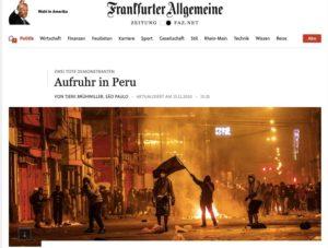 Captura de pantalla de la pagina del diario aleman Frankfurter Allgemeine sobre las protestas en peru