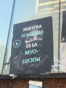 Streetart auf der Place dignidad, Zentrum der Proteste in Chile