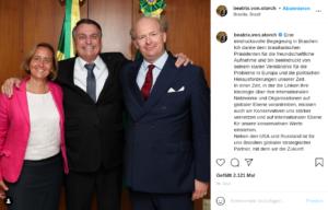 Beatrix und Sven von Storch mit Jair Bolsonaro 2021